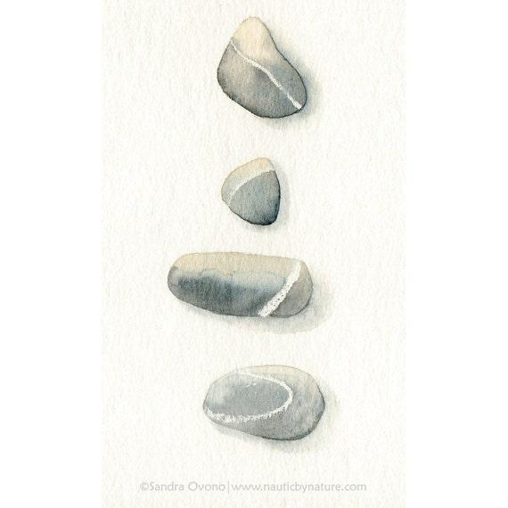 """Sea Pebbles ...   Original watercolor (3x5"""")"""