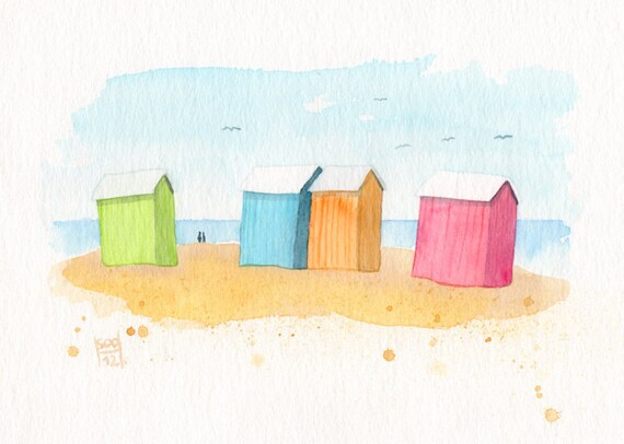 Colorful Beach Huts... Original seaside watercolor painting -  Pastel pink, orange, blue, green (5x7 inches)