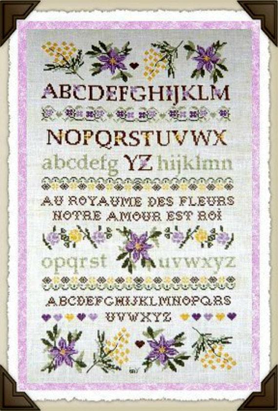 "Isabelle Vautier, New French Cross Stitch Pattern ""Sampler au Royaume des Fleurs"""