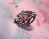 Avon Pink Topaz and Faux Marcasite Silver-tone Ring
