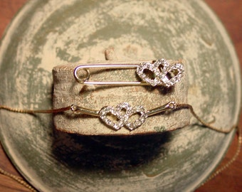 Gold tone heart necklace & matching pin w/ rhinestone double hearts