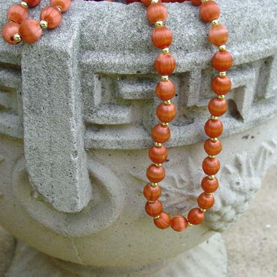 Red Orange Oriental Farbic Covered Beaded Necklace
