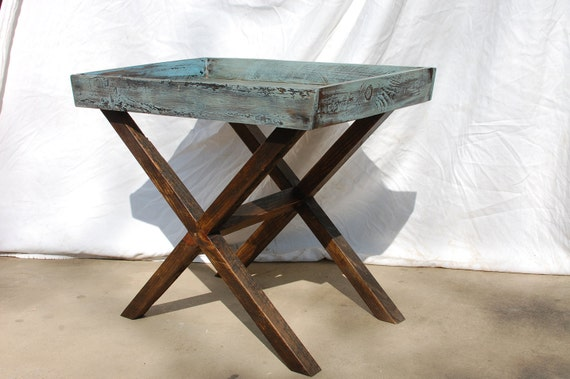 The Christine Reclaimed Barnwood coffee/side tray with X base Table