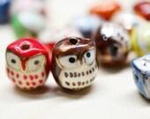 10 Pcs Porcelain Owl Beads. Mixed Color Hand painted Porcelain Bead 17mm.