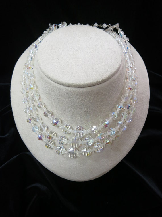 Triple Strand Aurora Borealis Necklace Item K-1468