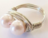 Pink Pearl Silver Wire Wrapped Ring - handmade jewelry, gifts under 20, custom jewelry, wire wrapped jewelry