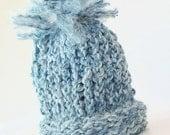 SALE Blue Knitted Baby Boy Newborn Pom Pom Hat - perfect photo prop