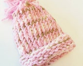 SALE Pink, Tan & Cream Knitted Baby Girl Newborn Pom Pom Hat - perfect photo prop