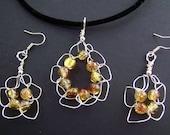 Brown/Yellow 'Daisy' Crochet Pendant and Earrings