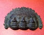 RESERVED FOR VAL Vintage Hindu Buddhist Indonesian Metal Mask Brahma, Vishnu, Shiva