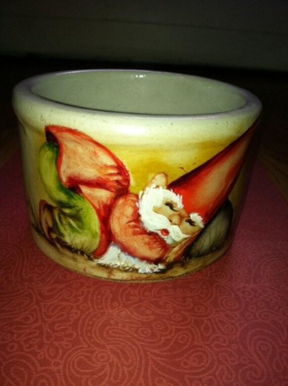 RESERVED for Sarah  Vintage Gnome Pottery Bowl 1970's Roseville USA