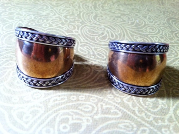 HALF PRICE SALE Vintage Southwestern Style Rope Detail Sterling Silver and Brass Hoop Earrings