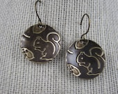 Embossed Brass Squirrel With Acorn Earrings