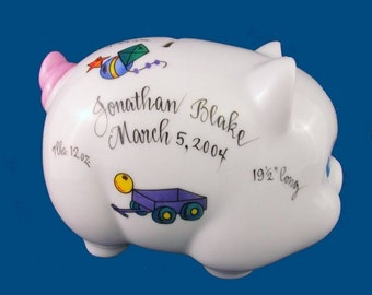Personalized Handpainted Porcelain Piggy Bank with Boy Toy DesignBaby Gift
