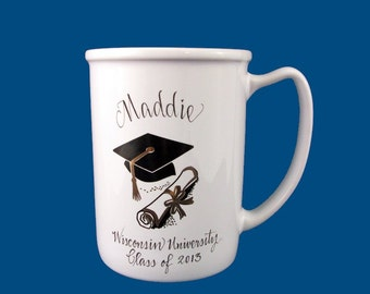 Personalized Hand Painted Porcelain Graduation Mug-Graduation Gift
