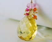 Gemstone Necklace Summer Bride Bright Yellow Lemon Quartz Orange Carnelian Pink Tourmaline - Citrus - Complimentary Shipping
