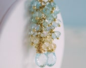 Pastel Aquamarine Earrings Semiprecious Gemstone Cluster March Birthstone Gold Wedding Jewelry - Forget Me Not - Complimentary Shipping