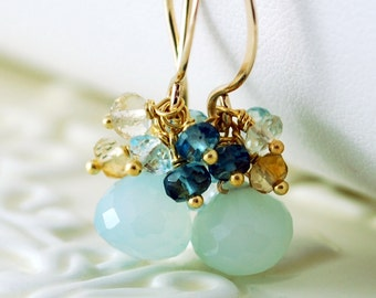 Beach Wedding Earrings Aqua Chalcedony Gemstone London Blue Topaz Cluster Bridal Jewelry Gold - Beach Walk - Complimentary Shipping