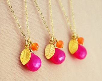 Hot Pink Bridesmaid Necklaces, Fuchsia Chalcedony, Orange Carnelian Gemstone, Gold Vermeil Leaf, Wedding Jewelry, Free Shipping