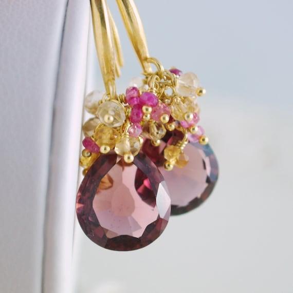 Fall Wedding Earrings Gold Bridal Jewelry Plum Kunzite Quartz Genuine Ruby Citrine Gemstone - Daylily - Complimentary Shipping