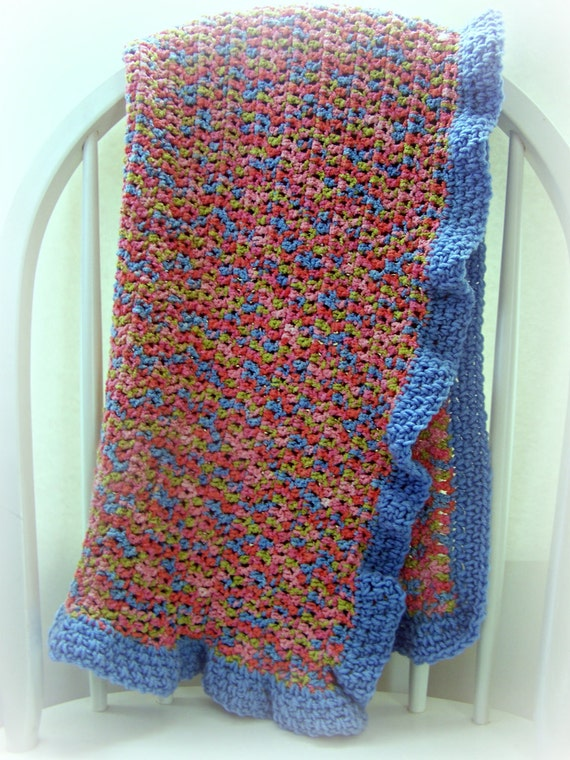 Crocheted Baby Blanket-Multi colored Acrylic/Cotton Blend-CLEARANCE!