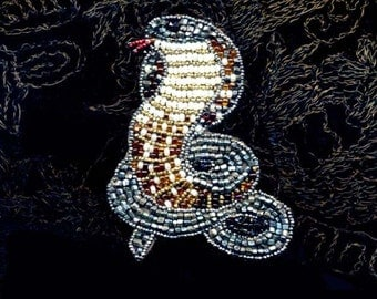 Snake Bead Embroidered Brooch