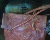 Wonderfullly exotic, leather vintage handbag ... Handmade in Morocco