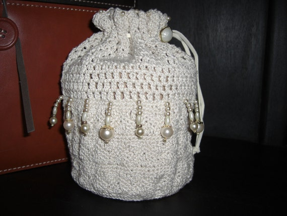 Bride or Flower Girl vintage style wristlet drawstring beaded pouch