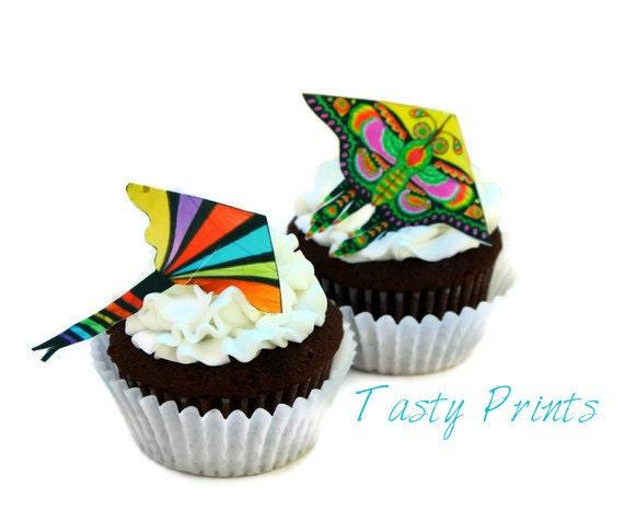 12 EDIBLE Colorful Kites - Edible Cupcake topper - Cake decoration