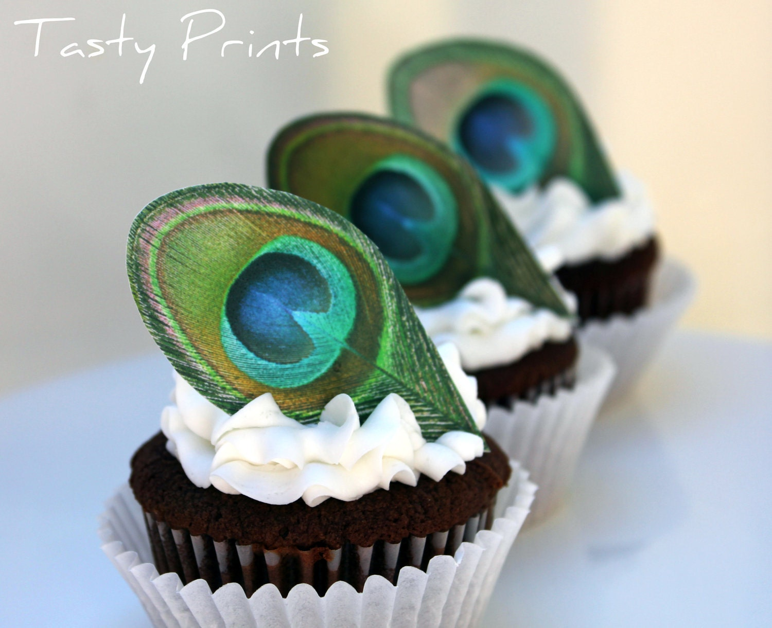 12 EDIBLE Peacock Feather Classic Cupcake topper by ...