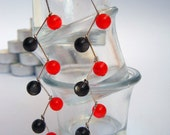 Beaded Dangle Earrings - Black and Red Cateye Beads