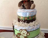 Three Tiered Monkey Diaper Cake