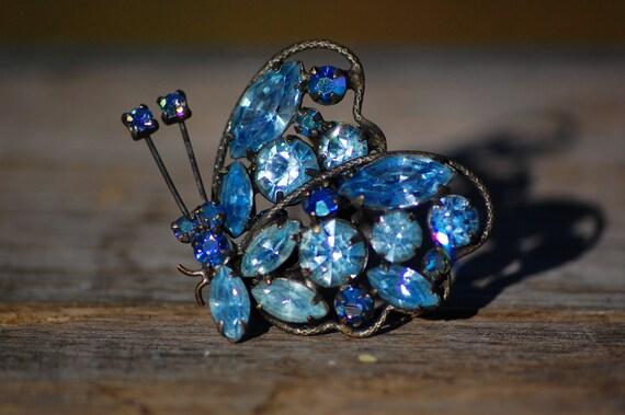 SALE 25% OFF Vintage Rhinestone Brooch Regency Marquise Cut Crystals Butterfly 1950s Aurora Borealis Ice Blue Crystal