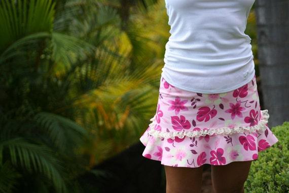 Hawaiian pink Hibiscus running skirt