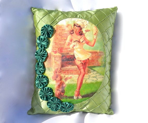 Be a Good Boy Pillow - Handcrafted with Rosettes and Pin Up
