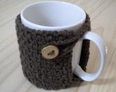 100% Organic Cotton Mug Cozy - Dark Brown with Natural Wood Button