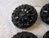 6 jet black glass buttons, sunflower floral pattern, antique coat buttons