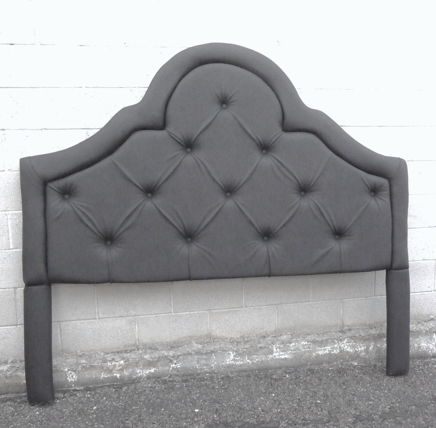 new black king arched button tufted headboard by mzad on etsy. Black Bedroom Furniture Sets. Home Design Ideas
