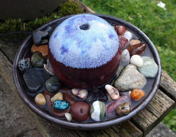 OOAK Purple Sphere Porcelain Stoneware Ceramic Water Fountain