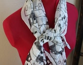 Vintage Black and White Vera Scarf with Houses