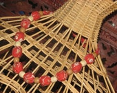 Beaded Fabric Necklace Red-Orange Floral Print