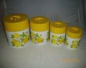 Sweet Vintage Original Lorrie Design Lemon Decorated 8pc Cansiter Set Great Condition