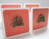 orange poka dot and carriage mini note card set