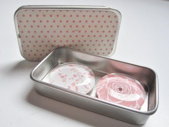 light pink and ivory poka dot and floral print magnet set