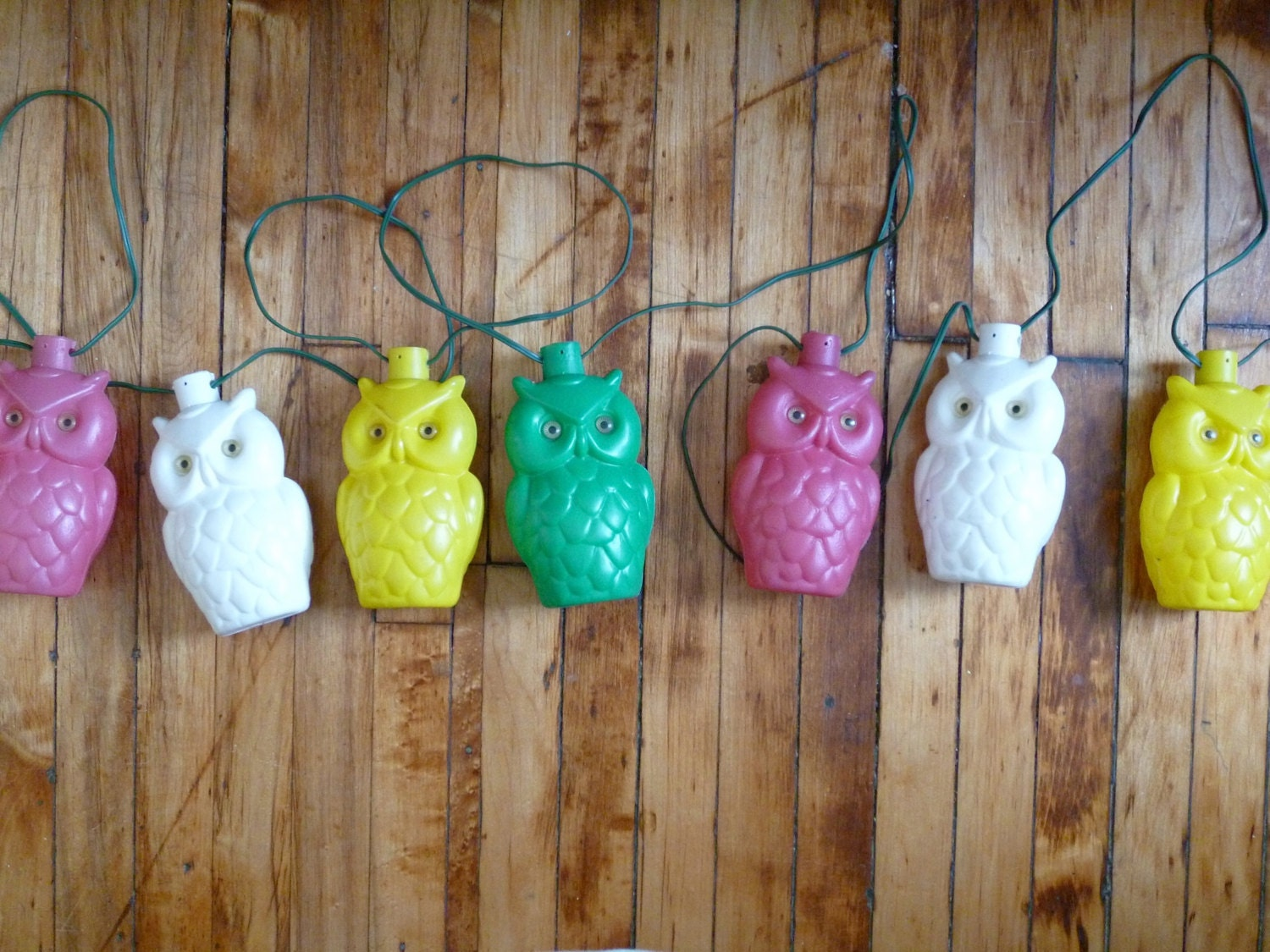 Vintage Owl String Lights Plastic Bright Colorful Tiki