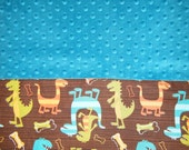 Kindermat Nap Mat Cover with Minky Headrest - Dino Dudes Teal