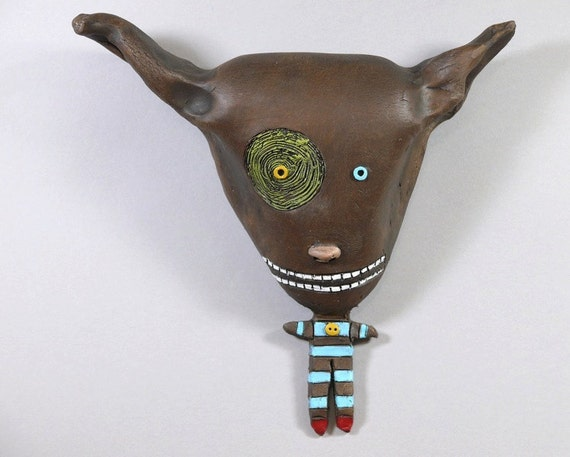 "Wall Art, Ceramic sculpture by Jacquline Hurlbert, wall pieces, ""Cocoa Puff"" 7 x 8"