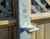 Wooden Rustic Pale Blue Wall Hanger - Planter or Candle Holder