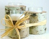 Wedding or Home Decor Votive Candle Sets- with Raffia Bow