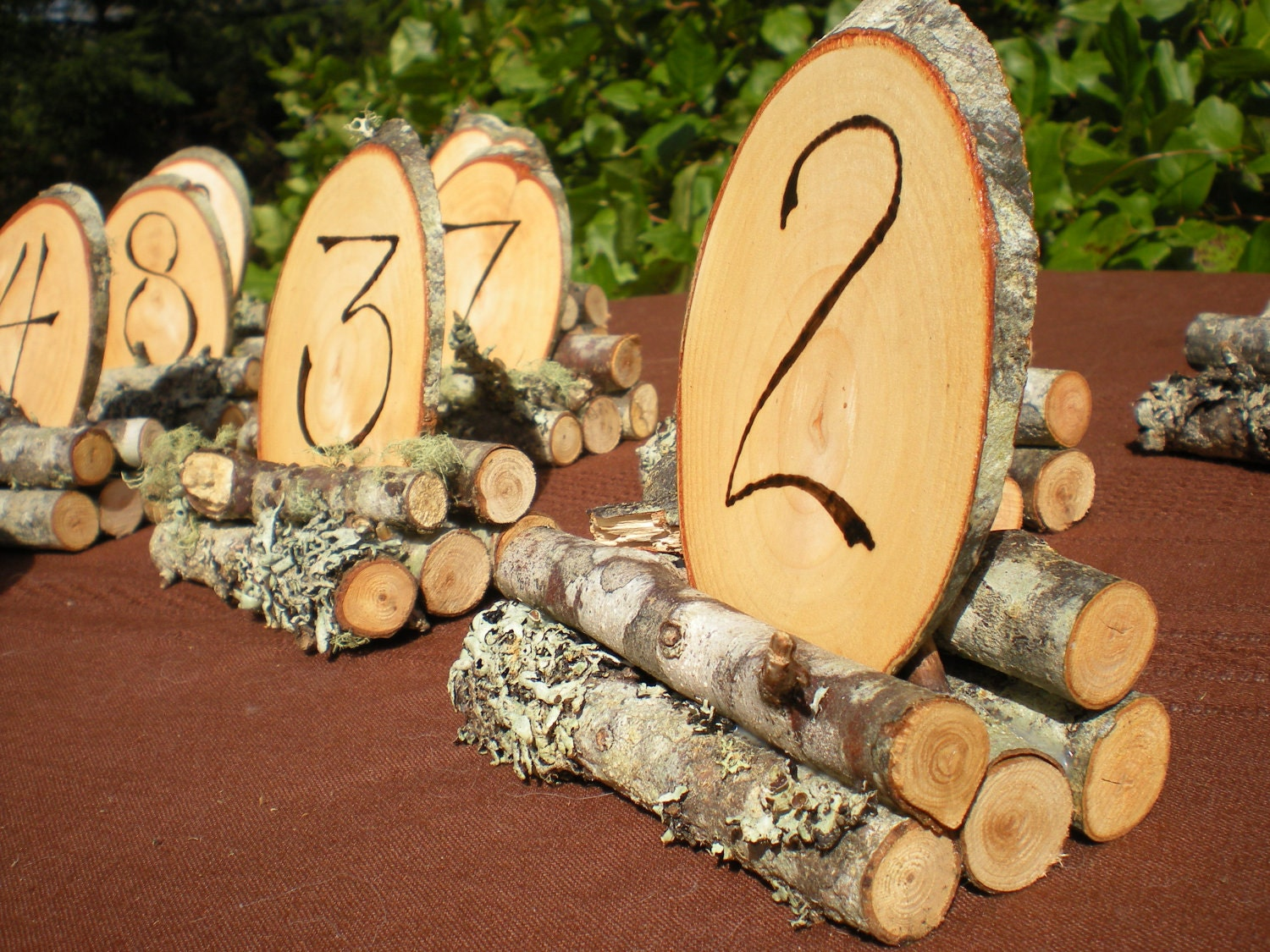 Superb img of Wood Wedding Table Numbers Rustic Wedding 1 8 by aTwistOfNature with #4B5F0B color and 1500x1125 pixels